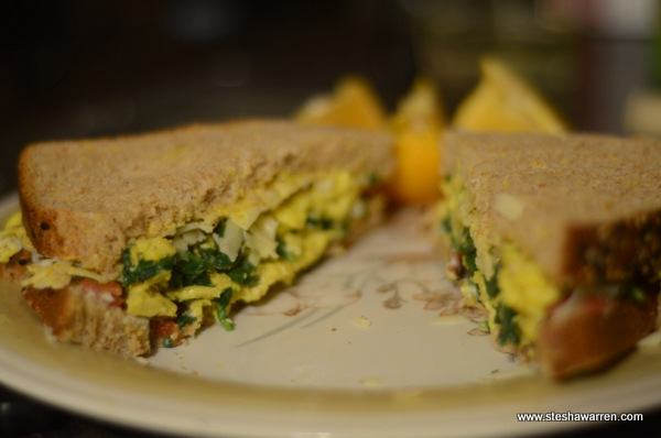 Bacon Egg Spinach Cheese Breakfast Sandwich
